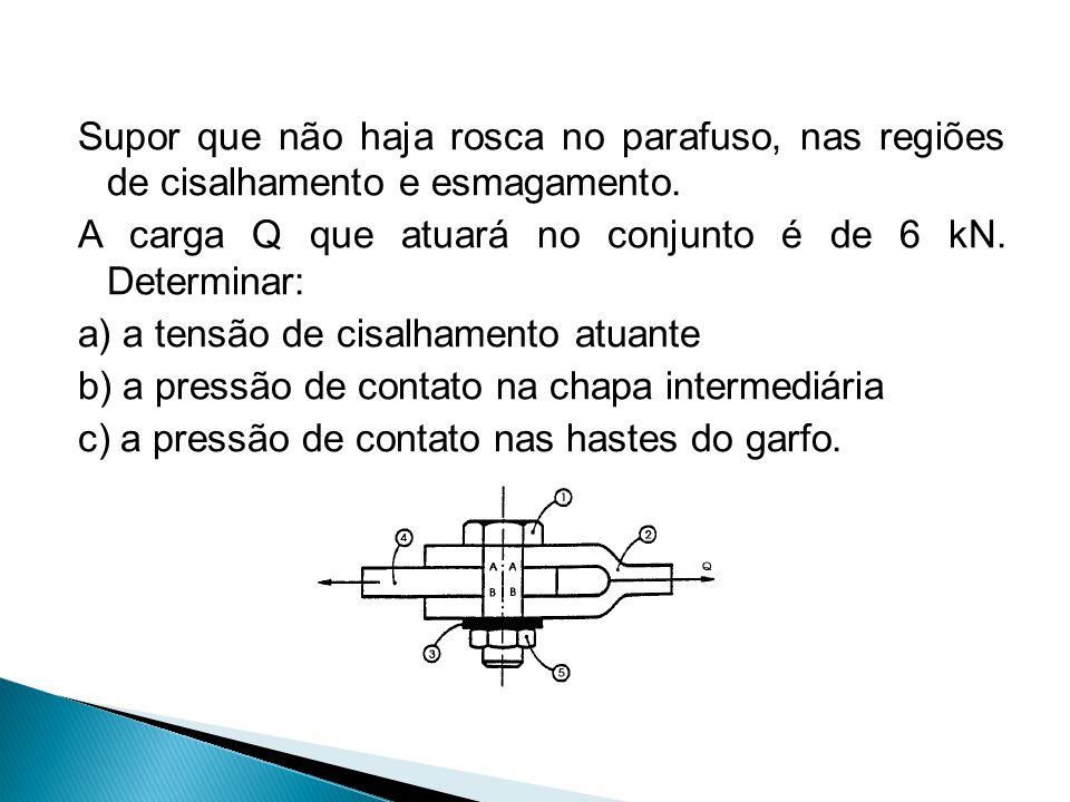 Supor que não haja rosca no parafuso, nas regiões de cisalhamento e esmagamento. A carga Q que atuará no conjunto é de 6 kN. Determinar: a) a tensão d