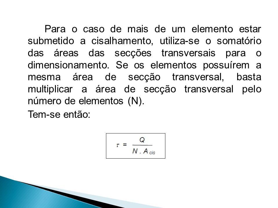Para o caso de mais de um elemento estar submetido a cisalhamento, utiliza-se o somatório das áreas das secções transversais para o dimensionamento. S