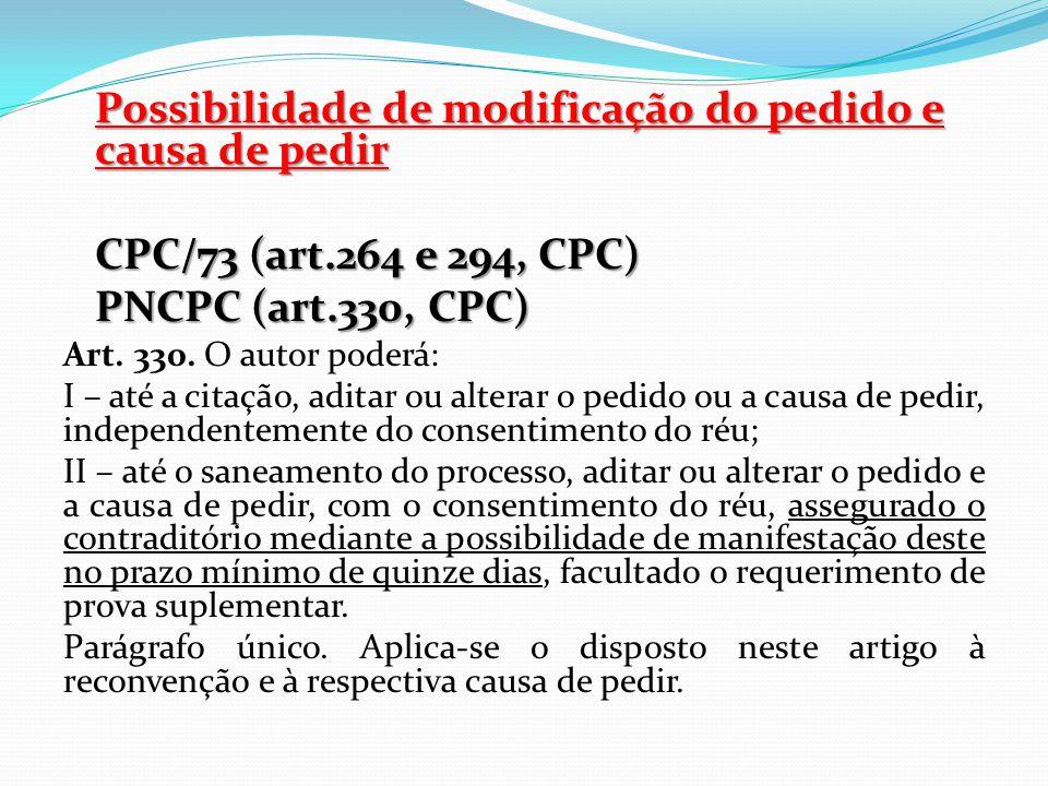 Possibilidade de modificação do pedido e causa de pedir CPC/73 (art.264 e 294, CPC) PNCPC (art.330, CPC) Art. 330. O autor poderá: I – até a citação,