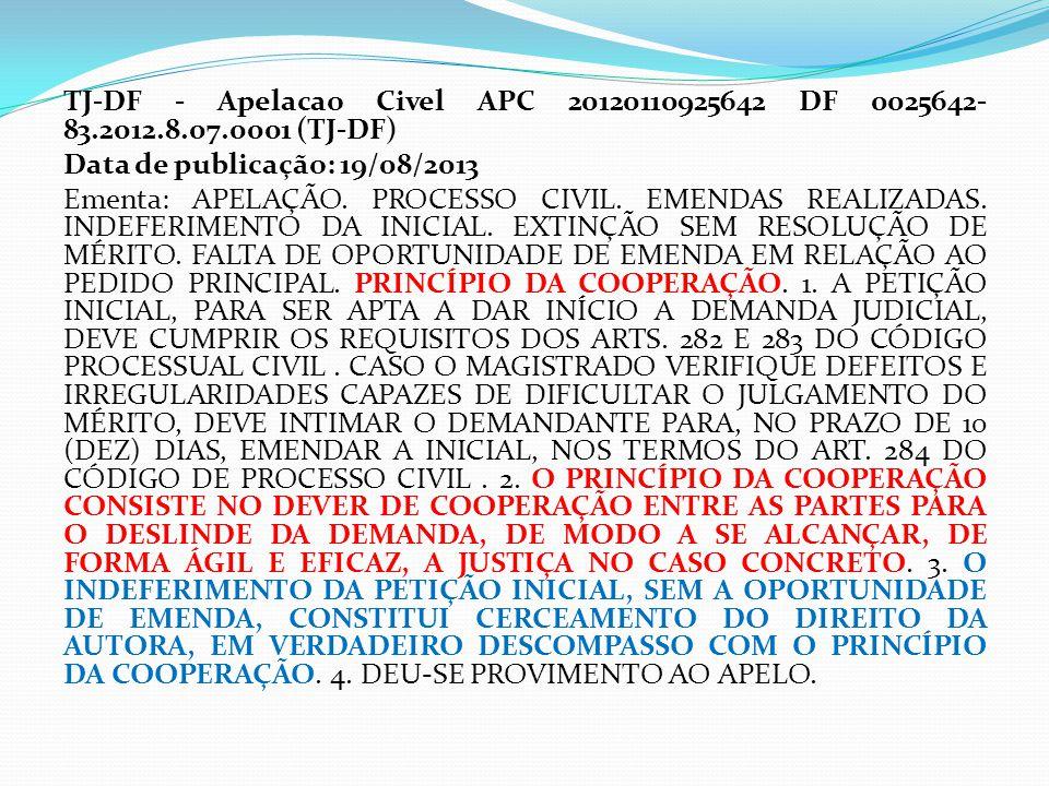 TJ-DF - Apelacao Civel APC 20120110925642 DF 0025642- 83.2012.8.07.0001 (TJ-DF) Data de publicação: 19/08/2013 Ementa: APELAÇÃO. PROCESSO CIVIL. EMEND