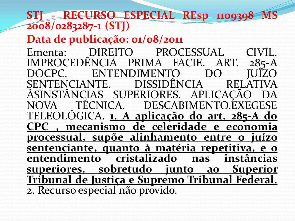 STJ - RECURSO ESPECIAL REsp 1109398 MS 2008/0283287-1 (STJ) Data de publicação: 01/08/2011 Ementa: DIREITO PROCESSUAL CIVIL. IMPROCEDÊNCIA PRIMA FACIE