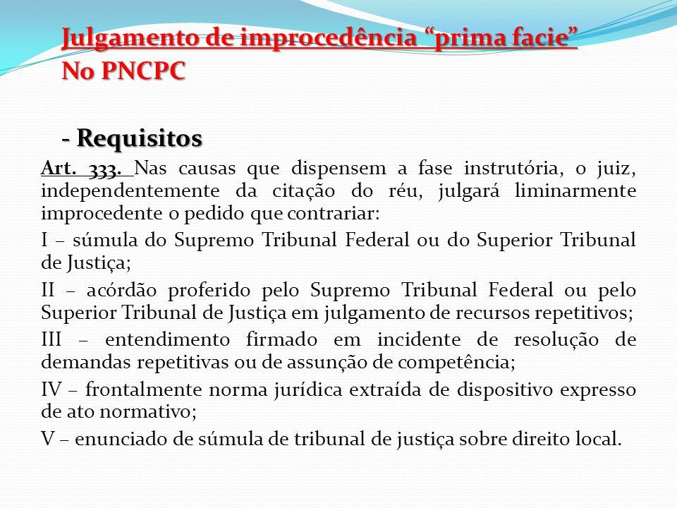 """Julgamento de improcedência """"prima facie"""" No PNCPC - Requisitos Art. 333. Nas causas que dispensem a fase instrutória, o juiz, independentemente da ci"""