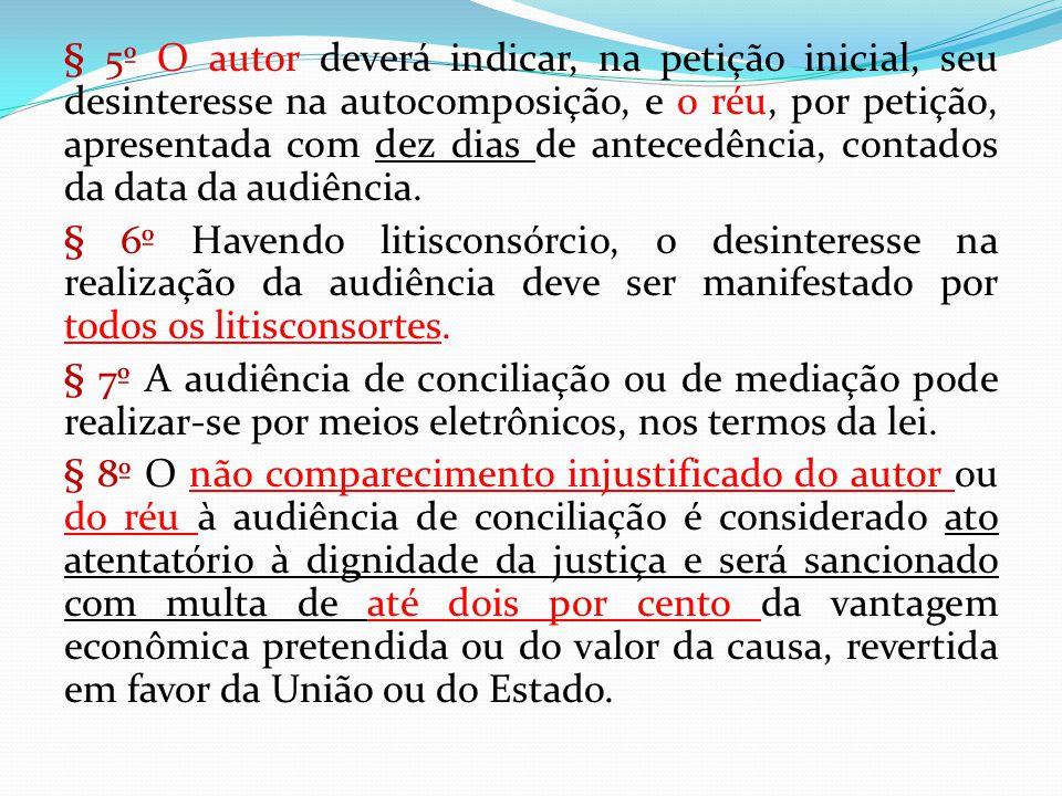 § 5º O autor deverá indicar, na petição inicial, seu desinteresse na autocomposição, e o réu, por petição, apresentada com dez dias de antecedência, c