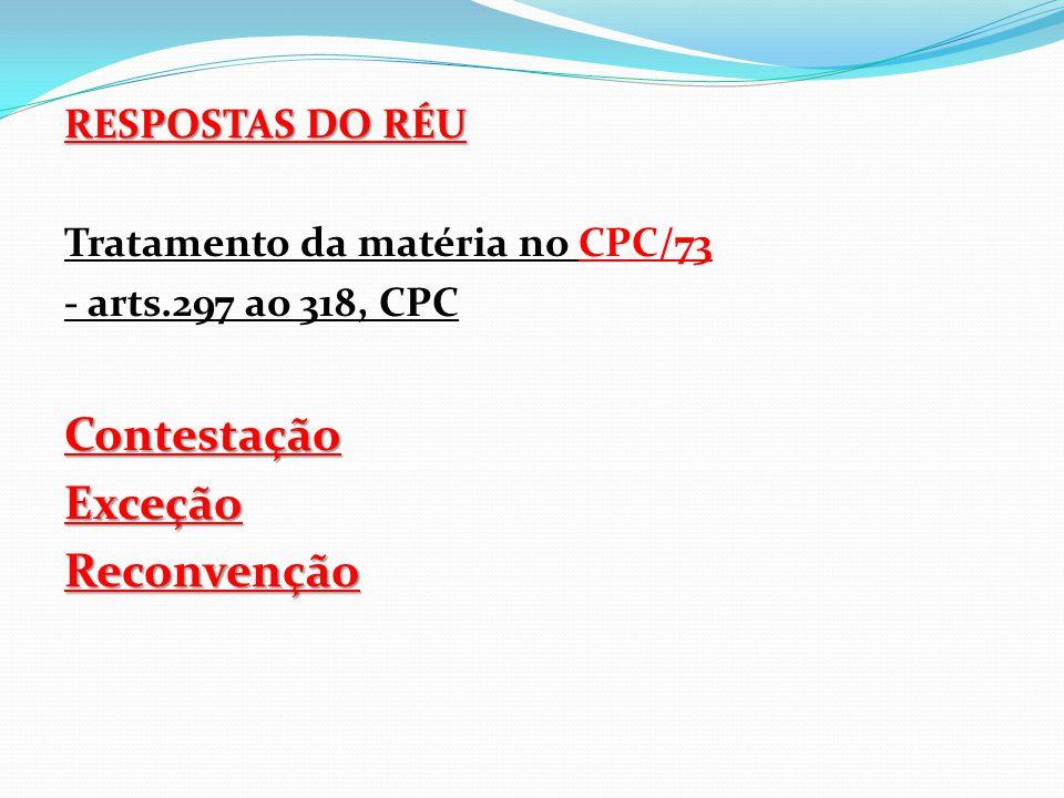 RESPOSTAS DO RÉU Tratamento da matéria no CPC/73 - arts.297 ao 318, CPCContestaçãoExceçãoReconvenção