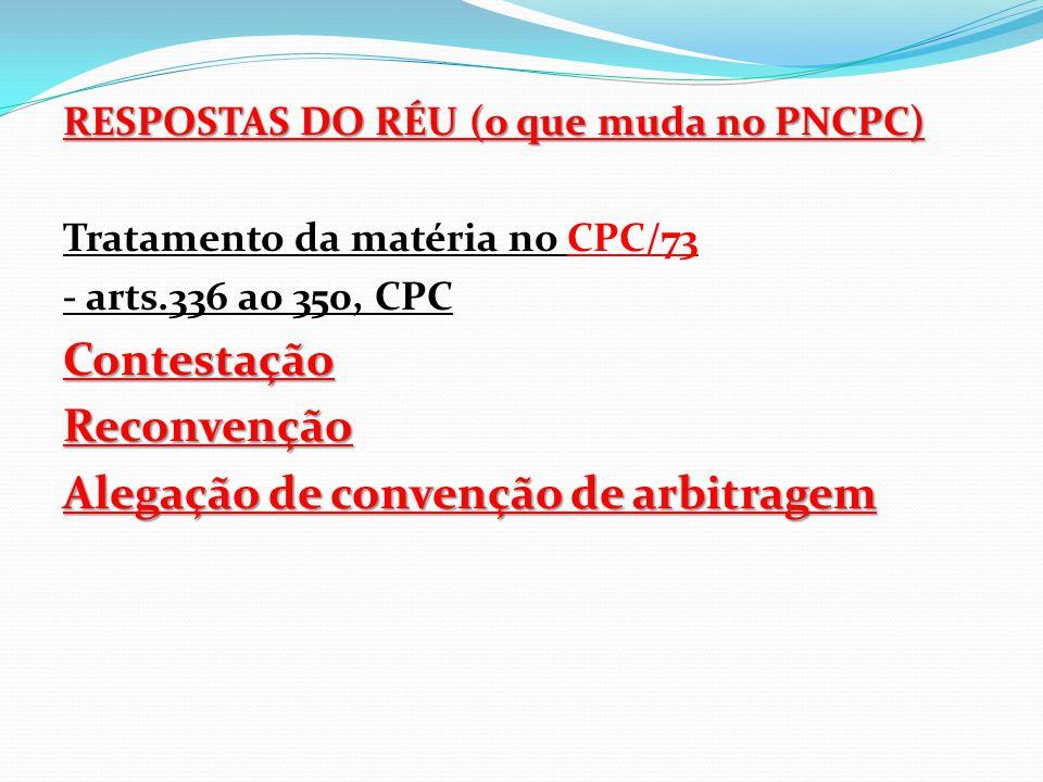 RESPOSTAS DO RÉU (o que muda no PNCPC) Tratamento da matéria no CPC/73 - arts.336 ao 350, CPCContestaçãoReconvenção Alegação de convenção de arbitrage