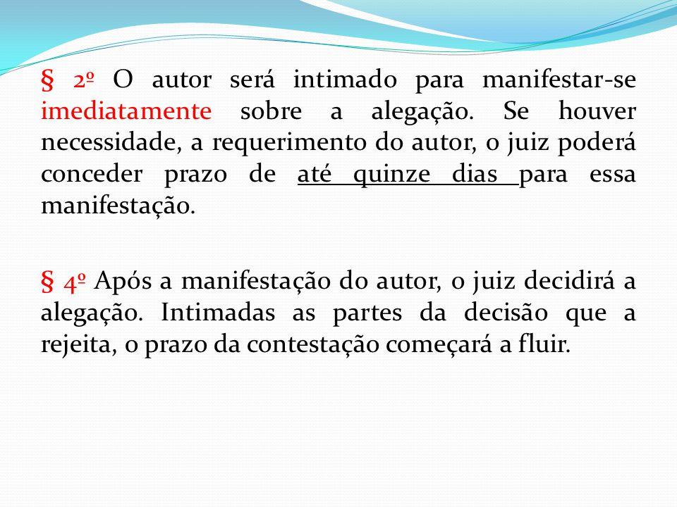 § 2º O autor será intimado para manifestar-se imediatamente sobre a alegação. Se houver necessidade, a requerimento do autor, o juiz poderá conceder p