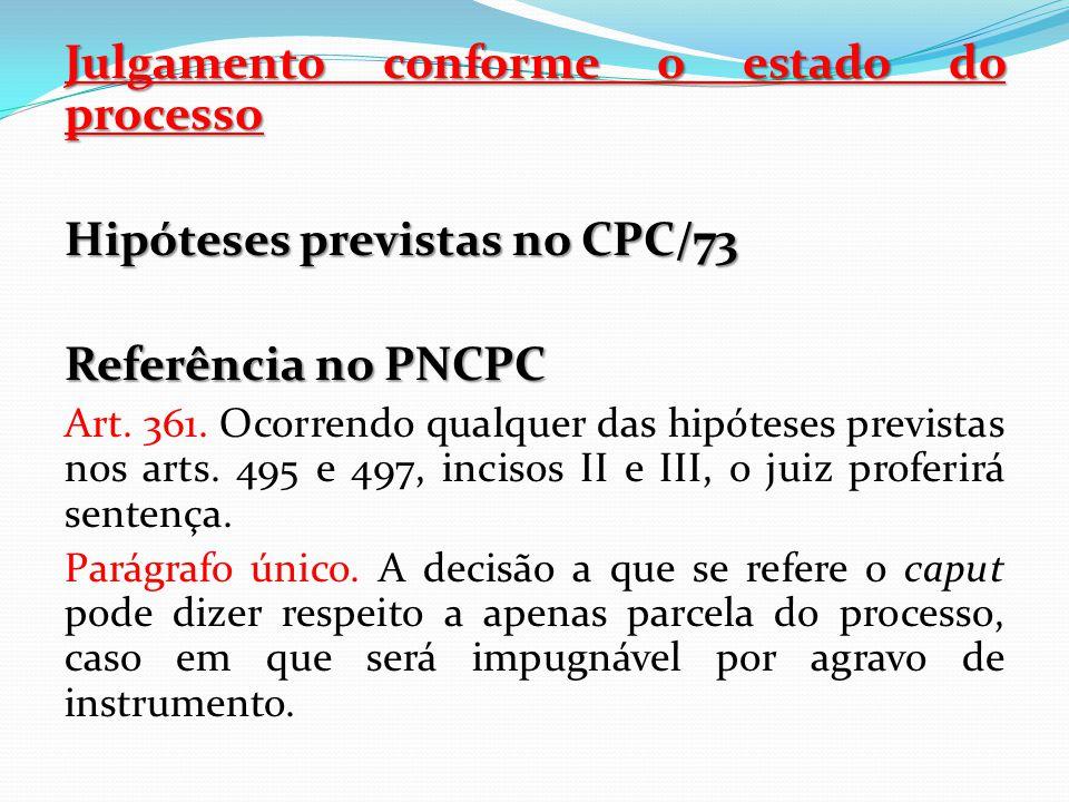 Julgamento conforme o estado do processo Hipóteses previstas no CPC/73 Referência no PNCPC Art. 361. Ocorrendo qualquer das hipóteses previstas nos ar