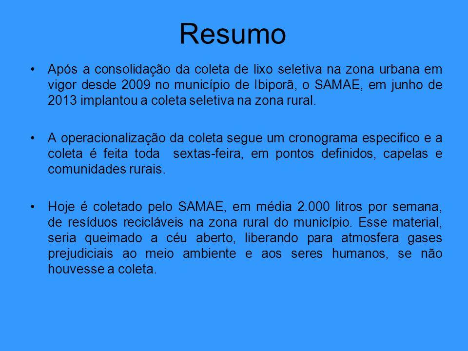 Resumo Após a consolidação da coleta de lixo seletiva na zona urbana em vigor desde 2009 no município de Ibiporã, o SAMAE, em junho de 2013 implantou