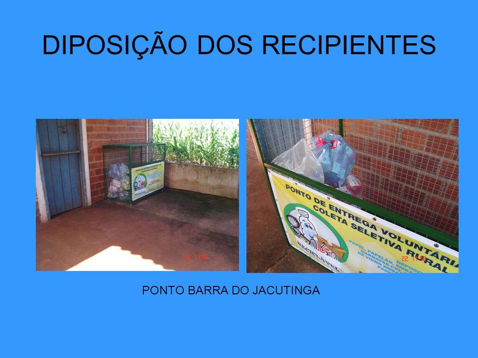 DIPOSIÇÃO DOS RECIPIENTES PONTO BARRA DO JACUTINGA