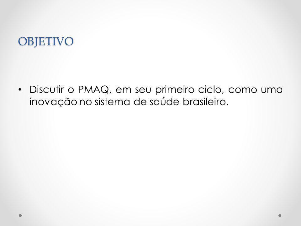OBJETIVO Discutir o PMAQ, em seu primeiro ciclo, como uma inovação no sistema de saúde brasileiro.