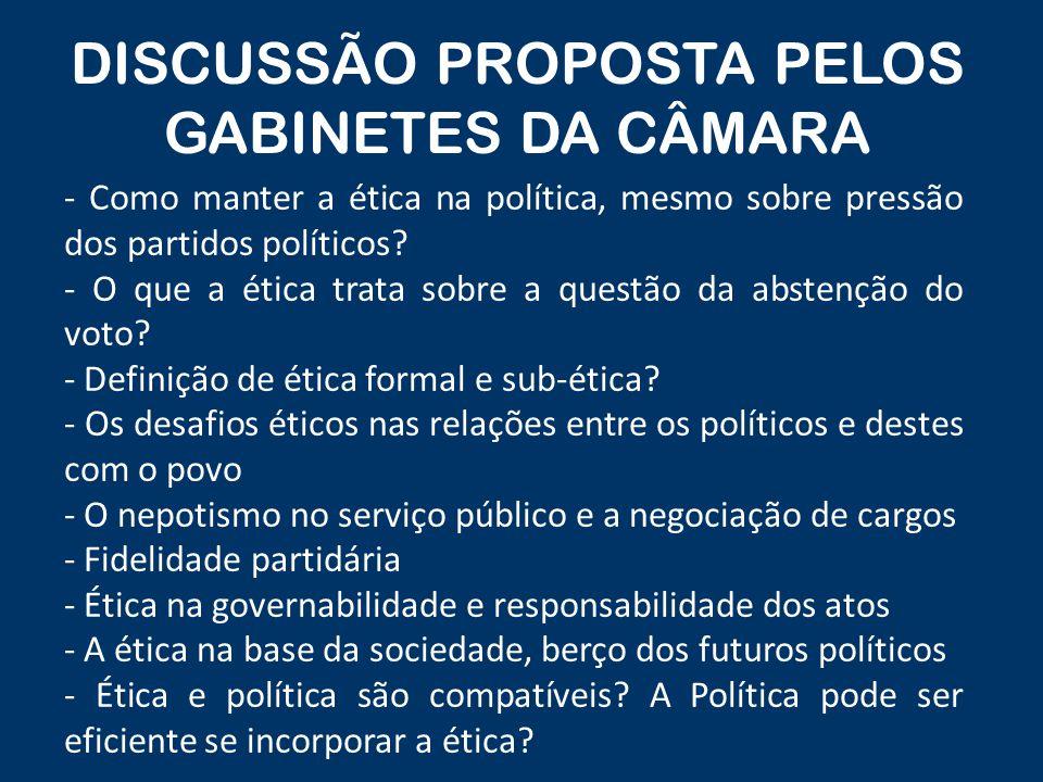 DISCUSSÃO PROPOSTA PELOS GABINETES DA CÂMARA - Como manter a ética na política, mesmo sobre pressão dos partidos políticos.