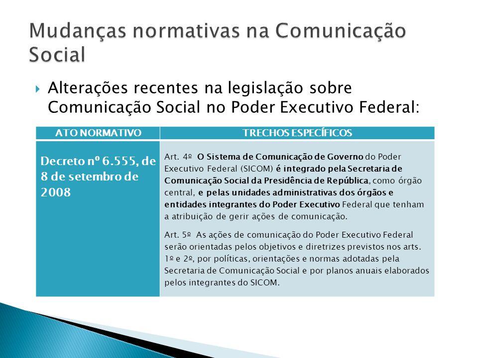  Alterações recentes na legislação sobre Comunicação Social no Poder Executivo Federal: ATO NORMATIVOTRECHOS ESPECÍFICOS Decreto nº 6.555, de 8 de setembro de 2008 Art.