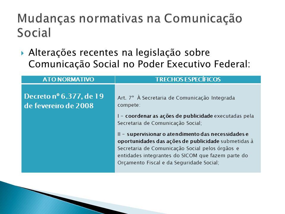  Alterações recentes na legislação sobre Comunicação Social no Poder Executivo Federal: ATO NORMATIVOTRECHOS ESPECÍFICOS Decreto nº 6.377, de 19 de fevereiro de 2008 Art.
