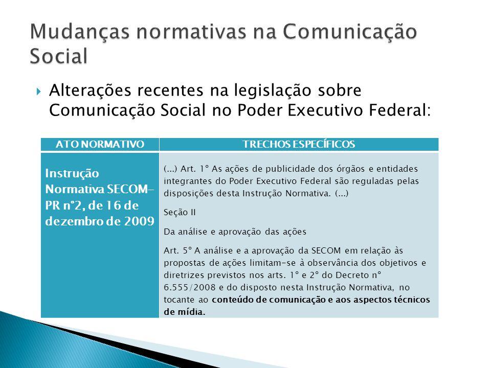  Alterações recentes na legislação sobre Comunicação Social no Poder Executivo Federal: ATO NORMATIVOTRECHOS ESPECÍFICOS Instrução Normativa SECOM- PR n°2, de 16 de dezembro de 2009 (...) Art.