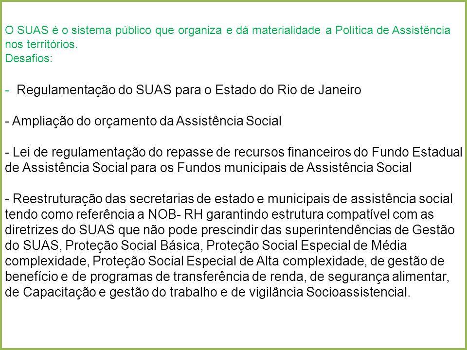 O SUAS é o sistema público que organiza e dá materialidade a Política de Assistência nos territórios. Avanços: O SUAS é o sistema público que organiza