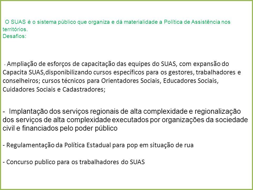 O SUAS é o sistema público que organiza e dá materialidade a Política de Assistência nos territórios. Desafios: - Ampliação de esforços de capacitação