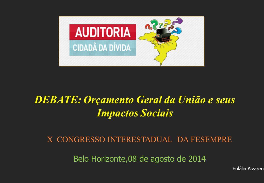 X CONGRESSO INTERESTADUAL DA FESEMPRE Belo Horizonte,08 de agosto de 2014 Eulália Alvarenga DEBATE: Orçamento Geral da União e seus Impactos Sociais