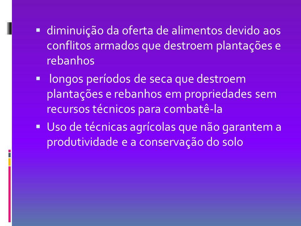  diminuição da oferta de alimentos devido aos conflitos armados que destroem plantações e rebanhos  longos períodos de seca que destroem plantações