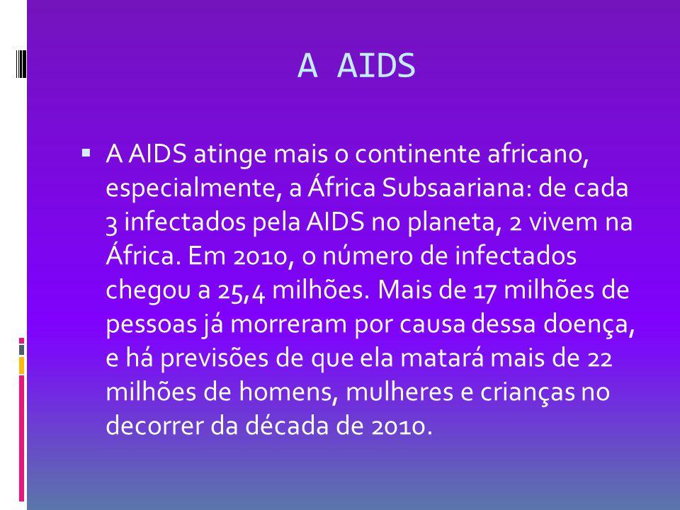 A AIDS  A AIDS atinge mais o continente africano, especialmente, a África Subsaariana: de cada 3 infectados pela AIDS no planeta, 2 vivem na África.