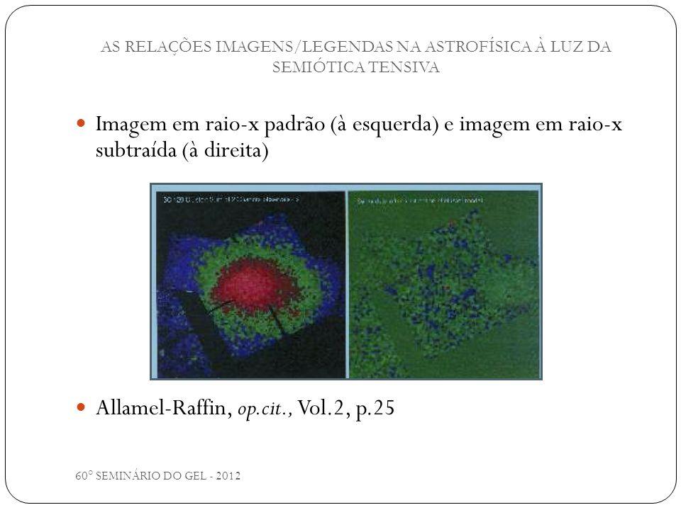 60° SEMINÁRIO DO GEL - 2012 Imagem em raio-x padrão (à esquerda) e imagem em raio-x subtraída (à direita) Allamel-Raffin, op.cit., Vol.2, p.25 AS RELA