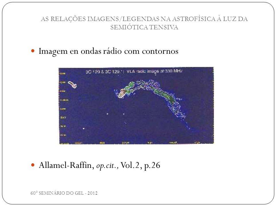 60° SEMINÁRIO DO GEL - 2012 Imagem en ondas rádio com contornos Allamel-Raffin, op.cit., Vol.2, p.26 AS RELAÇÕES IMAGENS/LEGENDAS NA ASTROFÍSICA À LUZ