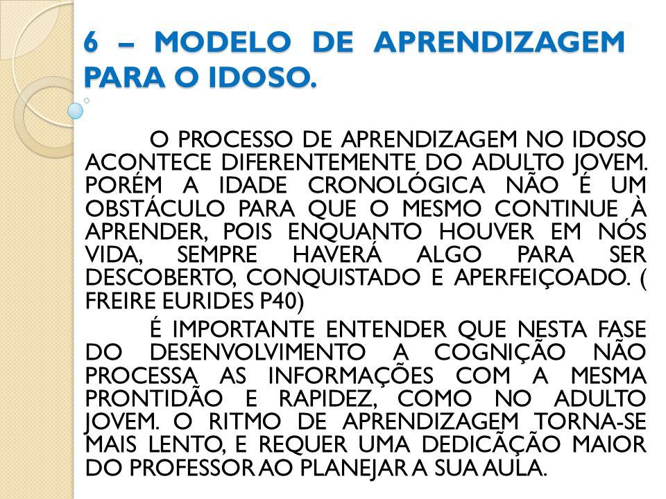 6 – MODELO DE APRENDIZAGEM PARA O IDOSO. O PROCESSO DE APRENDIZAGEM NO IDOSO ACONTECE DIFERENTEMENTE DO ADULTO JOVEM. PORÉM A IDADE CRONOLÓGICA NÃO É