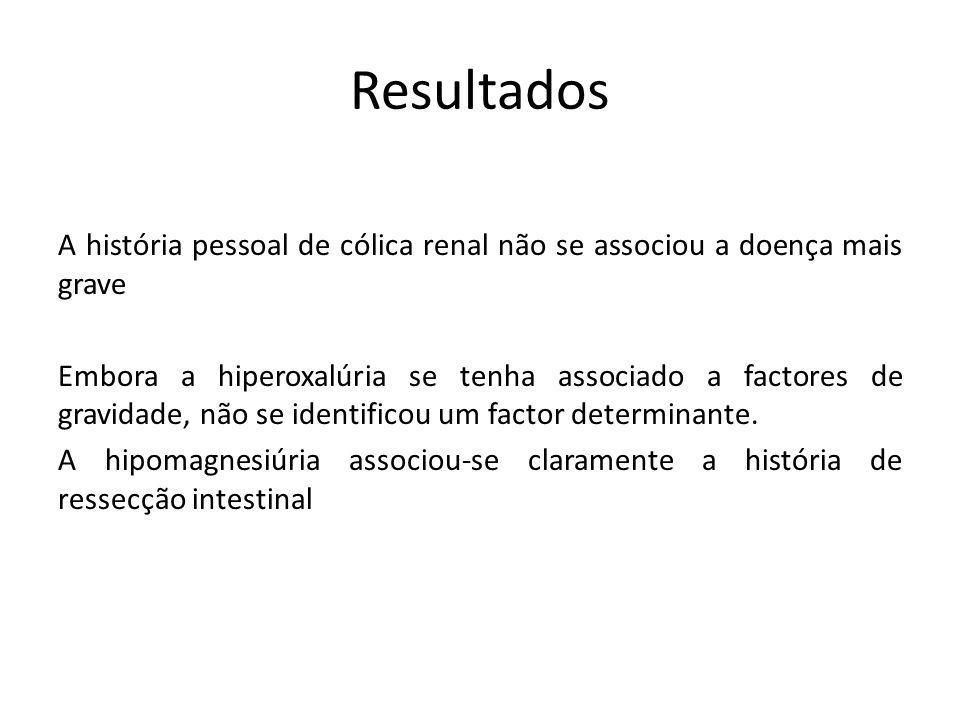 Resultados A história pessoal de cólica renal não se associou a doença mais grave Embora a hiperoxalúria se tenha associado a factores de gravidade, não se identificou um factor determinante.