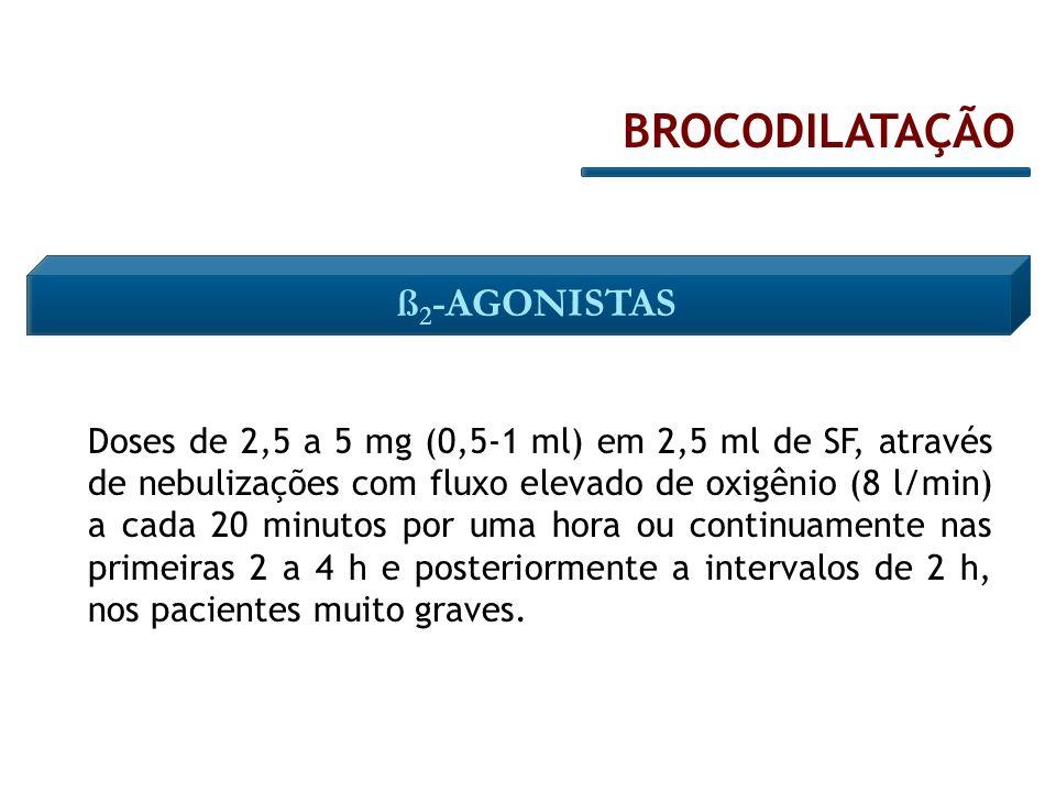 Doses de 2,5 a 5 mg (0,5-1 ml) em 2,5 ml de SF, através de nebulizações com fluxo elevado de oxigênio (8 l/min) a cada 20 minutos por uma hora ou cont