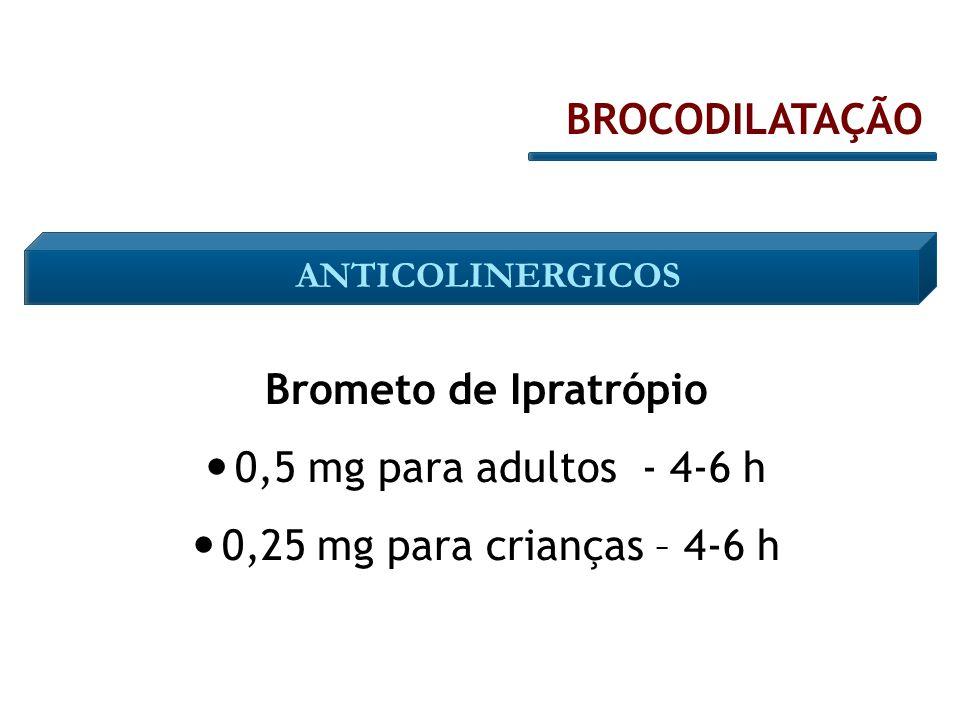 Brometo de Ipratrópio 0,5 mg para adultos - 4-6 h 0,25 mg para crianças – 4-6 h BROCODILATAÇÃO ANTICOLINERGICOS