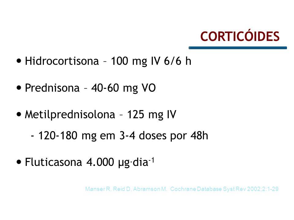 Hidrocortisona – 100 mg IV 6/6 h Prednisona – 40-60 mg VO Metilprednisolona – 125 mg IV - 120-180 mg em 3-4 doses por 48h Fluticasona 4.000 µg. dia -1