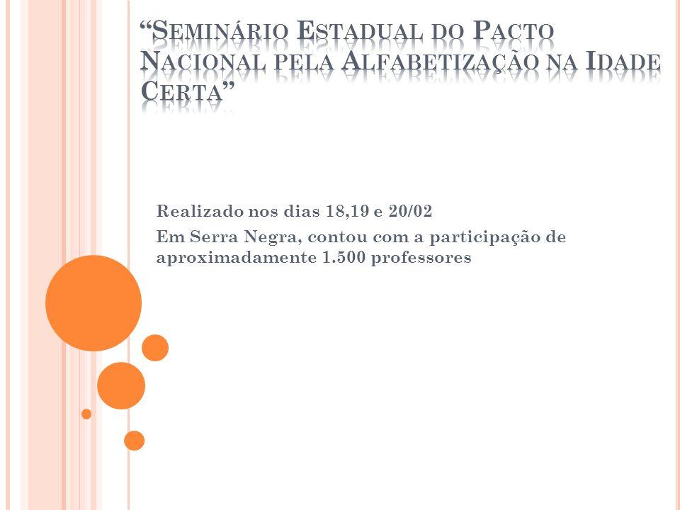 Realizado nos dias 18,19 e 20/02 Em Serra Negra, contou com a participação de aproximadamente 1.500 professores