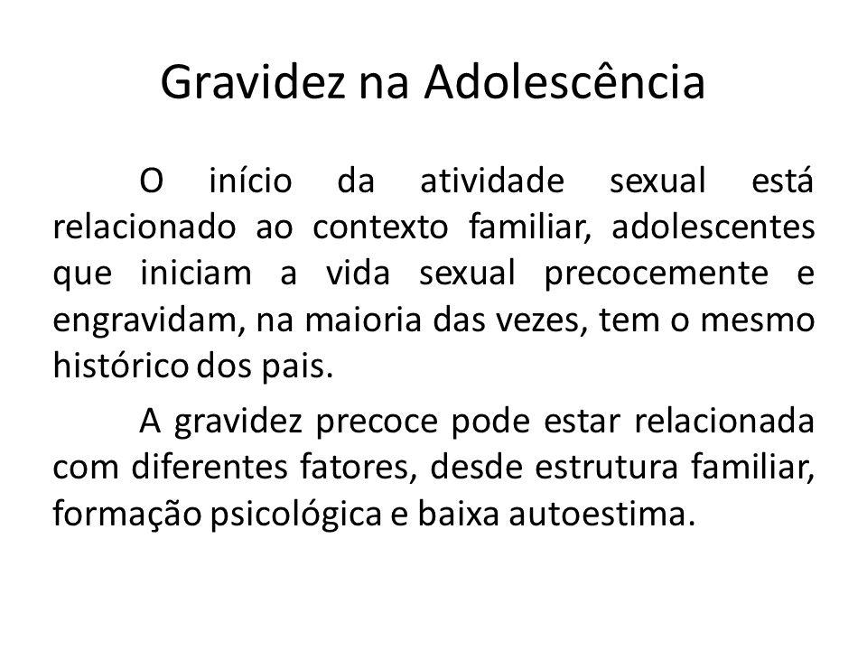 Gravidez na Adolescência O início da atividade sexual está relacionado ao contexto familiar, adolescentes que iniciam a vida sexual precocemente e eng