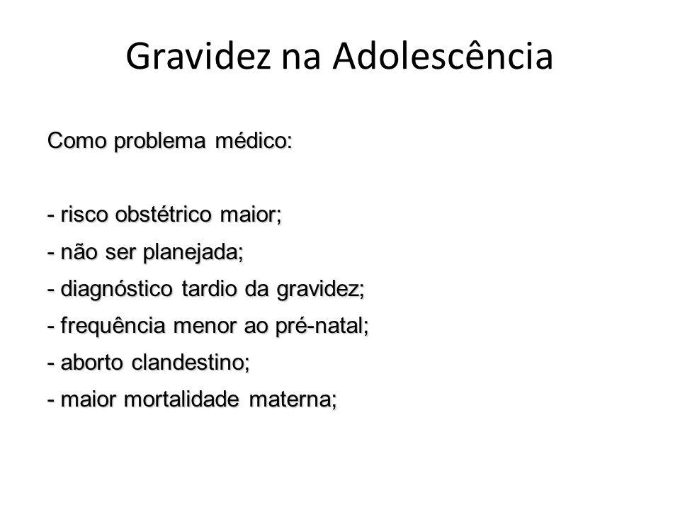 Gravidez na Adolescência Como problema médico: - risco obstétrico maior; - não ser planejada; - diagnóstico tardio da gravidez; - frequência menor ao