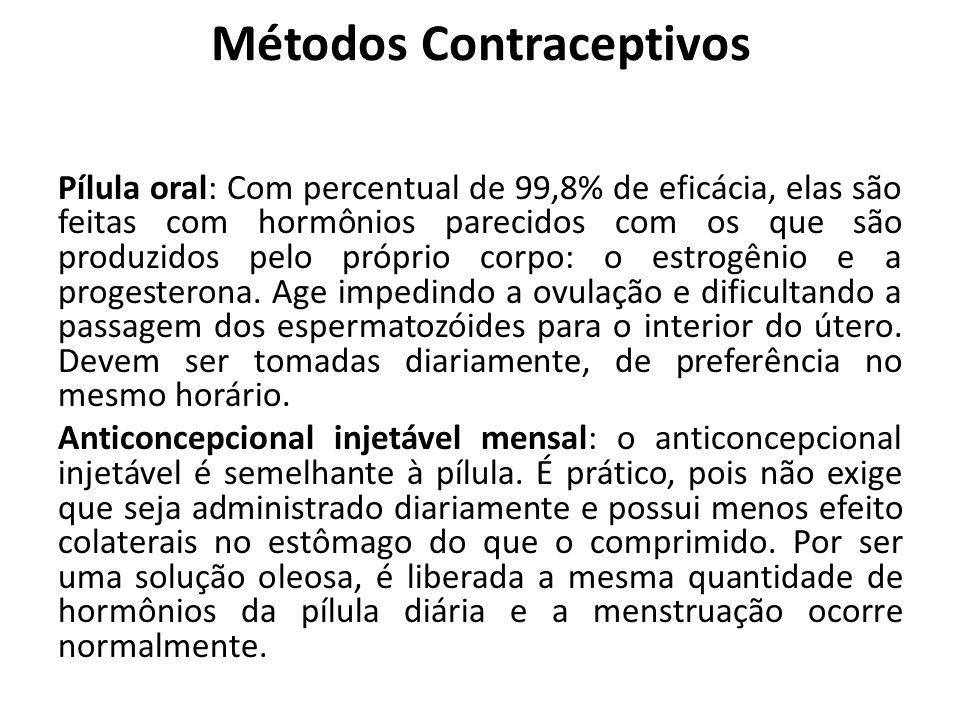 Métodos Contraceptivos Pílula oral: Com percentual de 99,8% de eficácia, elas são feitas com hormônios parecidos com os que são produzidos pelo própri