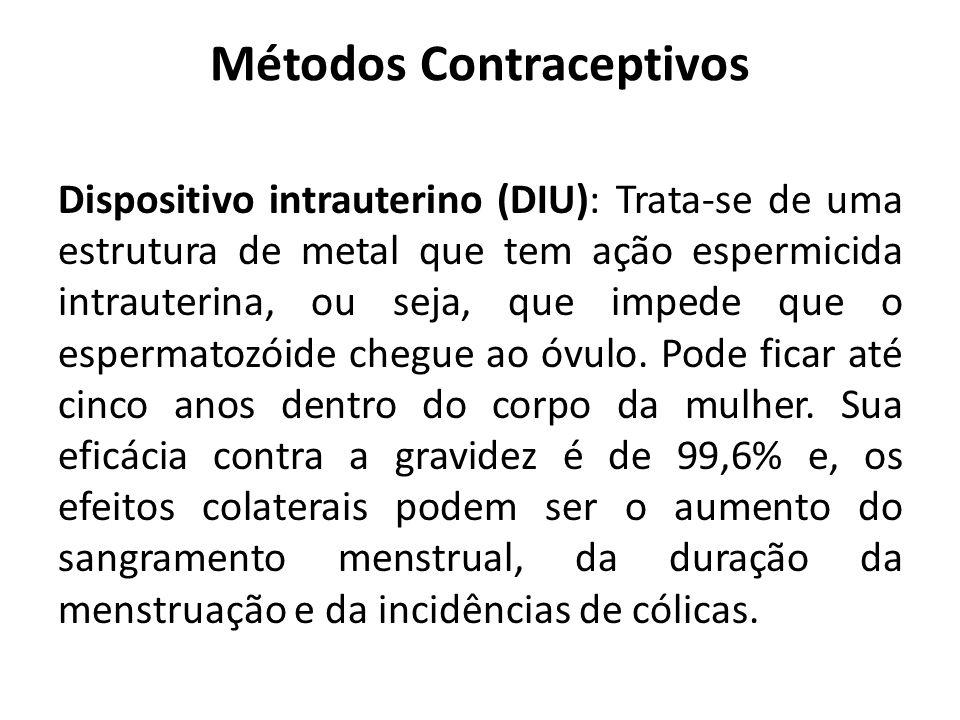 Métodos Contraceptivos Dispositivo intrauterino (DIU): Trata-se de uma estrutura de metal que tem ação espermicida intrauterina, ou seja, que impede q