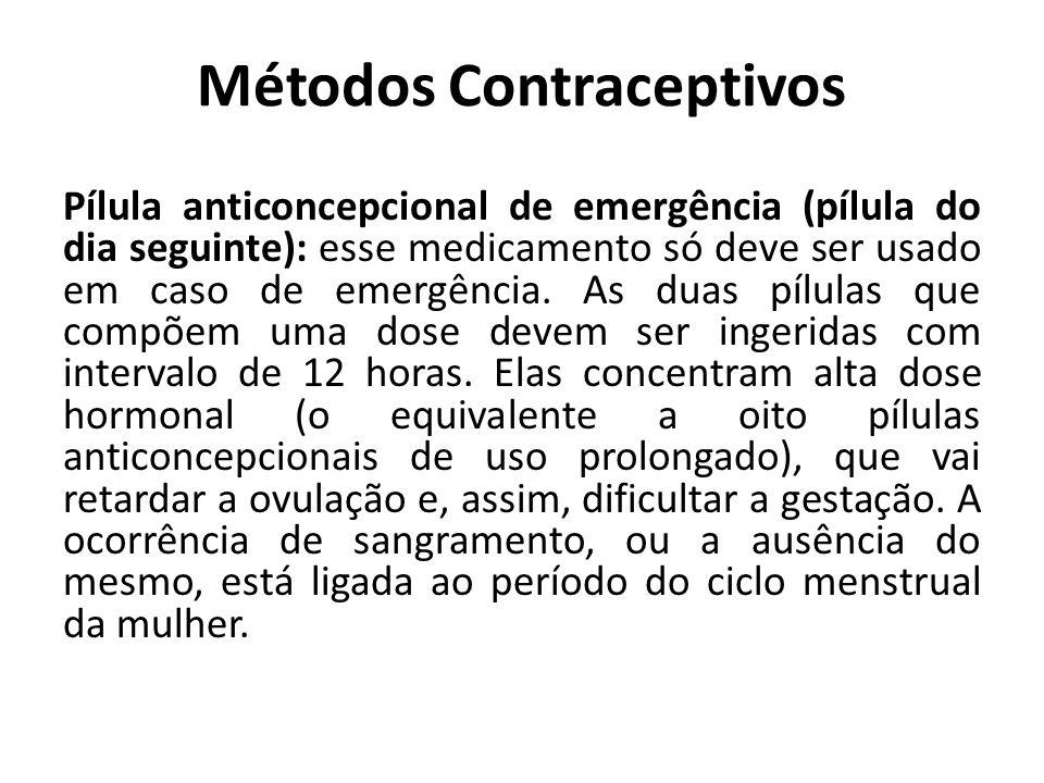 Métodos Contraceptivos Pílula anticoncepcional de emergência (pílula do dia seguinte): esse medicamento só deve ser usado em caso de emergência. As du