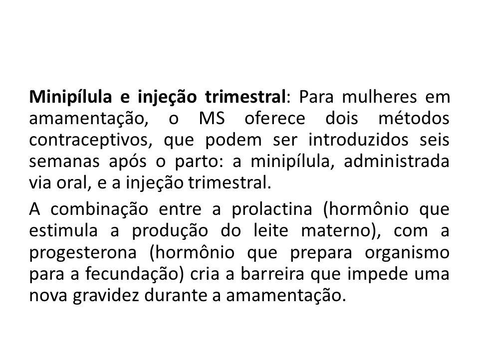 Minipílula e injeção trimestral: Para mulheres em amamentação, o MS oferece dois métodos contraceptivos, que podem ser introduzidos seis semanas após