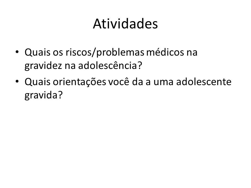 Atividades Quais os riscos/problemas médicos na gravidez na adolescência? Quais orientações você da a uma adolescente gravida?
