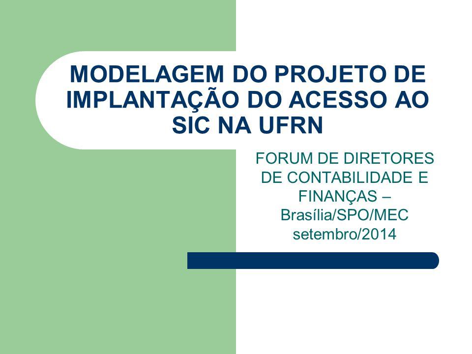 MODELAGEM DO PROJETO DE IMPLANTAÇÃO DO ACESSO AO SIC NA UFRN FORUM DE DIRETORES DE CONTABILIDADE E FINANÇAS – Brasília/SPO/MEC setembro/2014