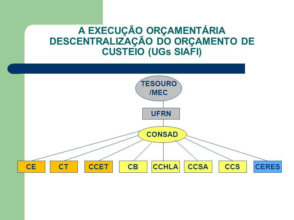 A EXECUÇÃO ORÇAMENTÁRIA DESCENTRALIZAÇÃO DO ORÇAMENTO DE CUSTEIO (UGs SIAFI) TESOURO /MEC UFRN CONSAD CERESCCHLACCSACBCECCETCCSCT