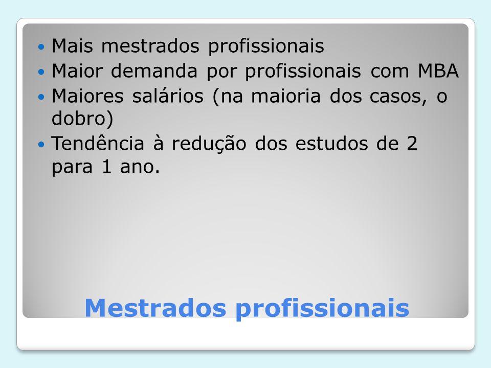 Mestrados profissionais Mais mestrados profissionais Maior demanda por profissionais com MBA Maiores salários (na maioria dos casos, o dobro) Tendência à redução dos estudos de 2 para 1 ano.