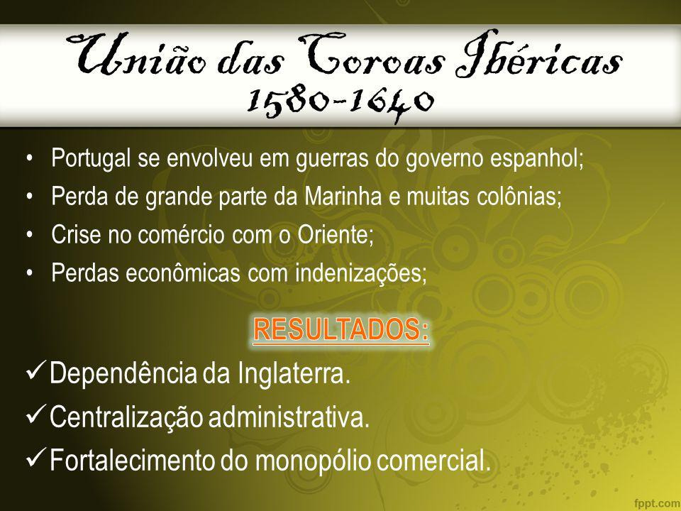 União das Coroas Ibéricas 1580-1640 Portugal se envolveu em guerras do governo espanhol; Perda de grande parte da Marinha e muitas colônias; Crise no comércio com o Oriente; Perdas econômicas com indenizações;