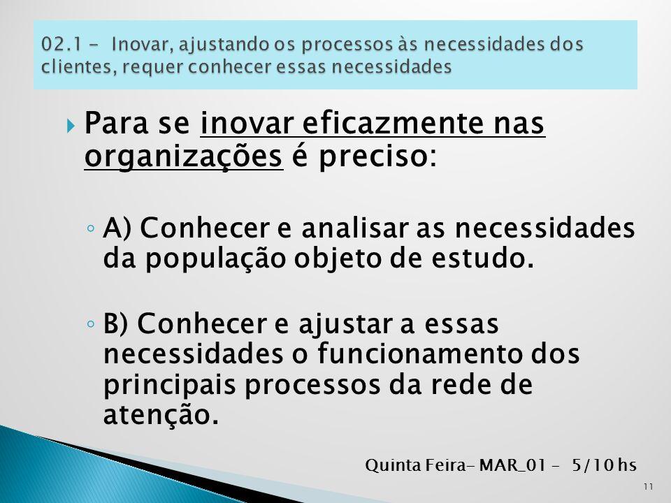  Para se inovar eficazmente nas organizações é preciso: ◦ A) Conhecer e analisar as necessidades da população objeto de estudo. ◦ B) Conhecer e ajust