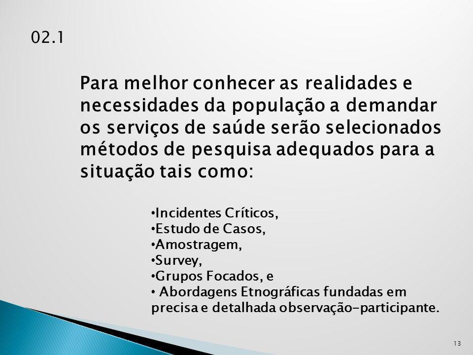 02.1 13 Para melhor conhecer as realidades e necessidades da população a demandar os serviços de saúde serão selecionados métodos de pesquisa adequado