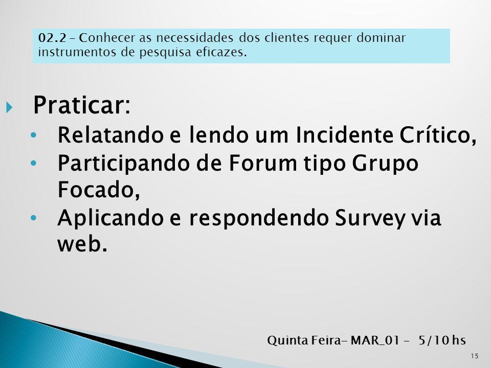  Praticar: Relatando e lendo um Incidente Crítico, Participando de Forum tipo Grupo Focado, Aplicando e respondendo Survey via web. 15 Quinta Feira-