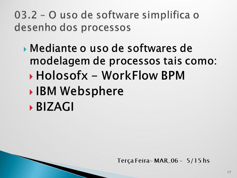  Mediante o uso de softwares de modelagem de processos tais como:  Holosofx - WorkFlow BPM  IBM Websphere  BIZAGI 17 Terça Feira- MAR_06 - 5/15 hs