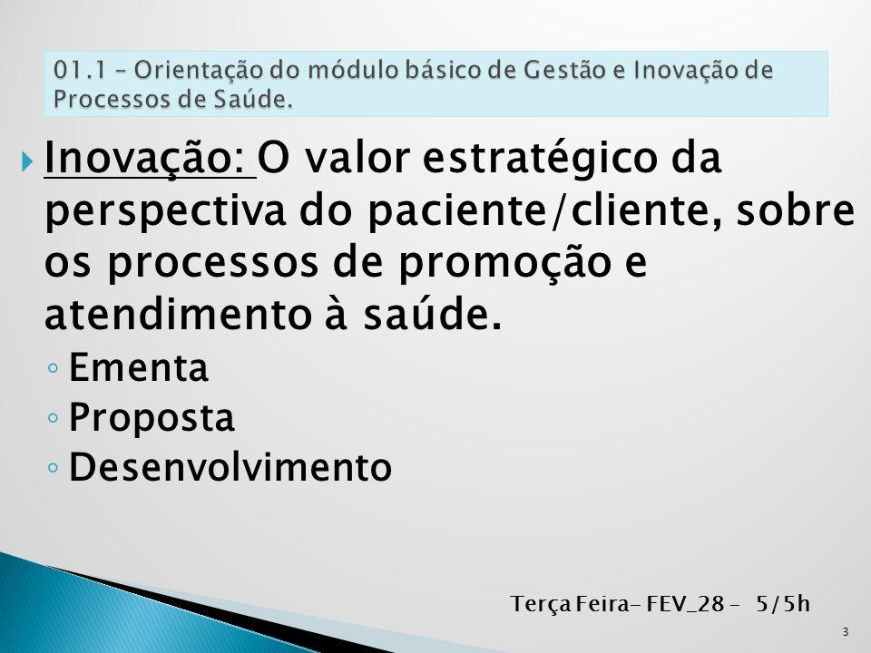  Inovação: O valor estratégico da perspectiva do paciente/cliente, sobre os processos de promoção e atendimento à saúde. ◦ Ementa ◦ Proposta ◦ Desenv