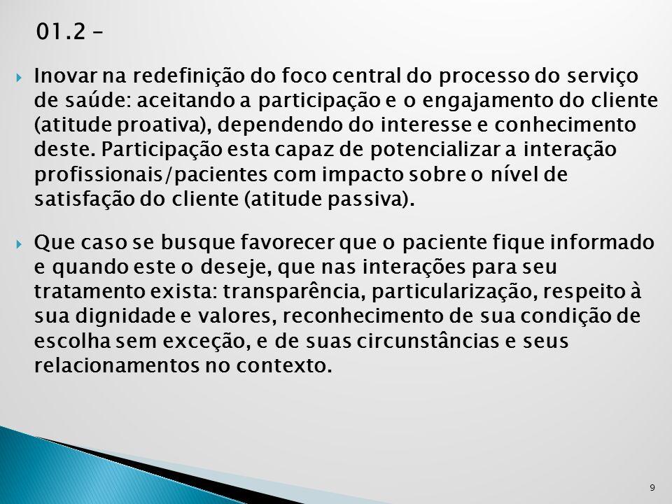 01.2 –  Inovar na redefinição do foco central do processo do serviço de saúde: aceitando a participação e o engajamento do cliente (atitude proativa)