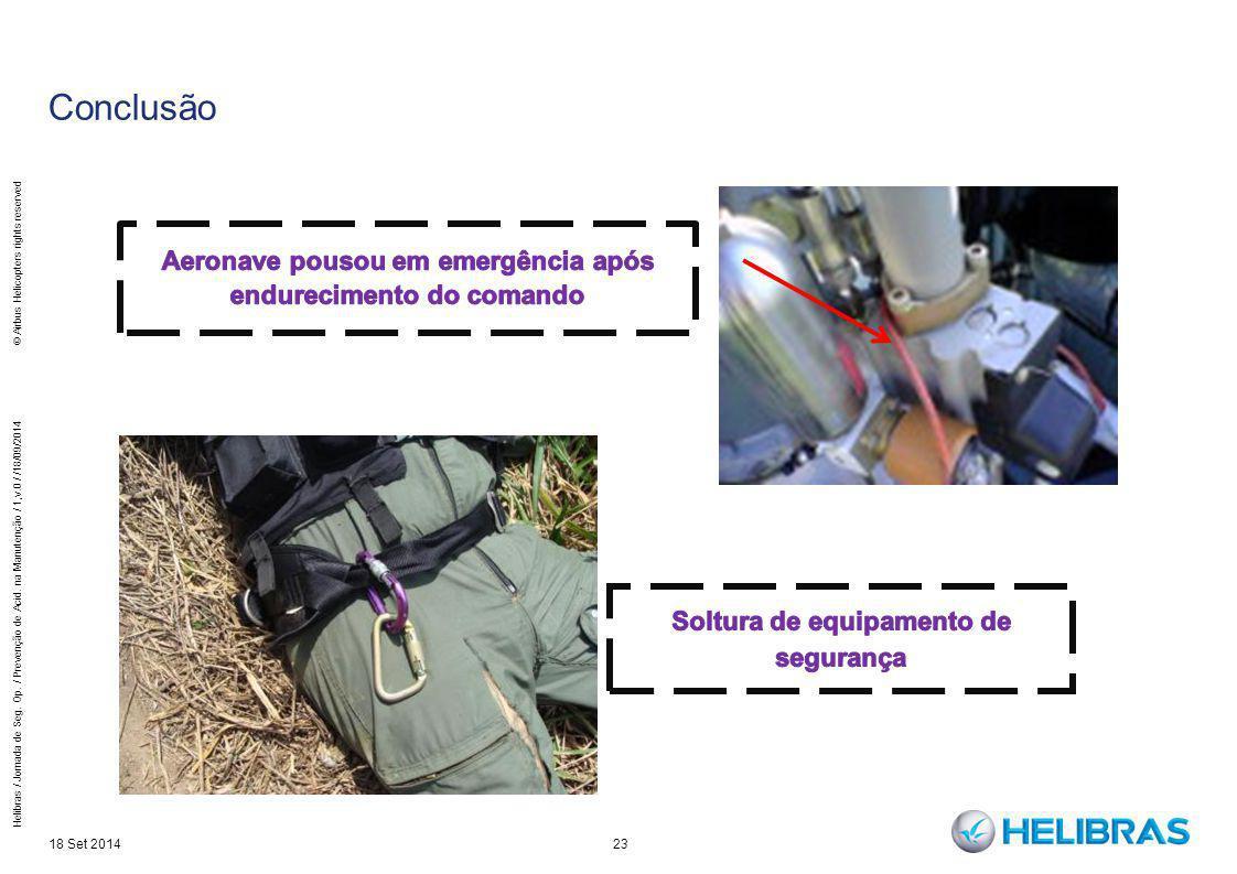 23 Conclusão 18 Set 2014 Helibras / Jornada de Seg. Op. / Prevenção de Acid. na Manutenção / 1,v.0 / /18/09/2014 © Airbus Helicopters rights reserved
