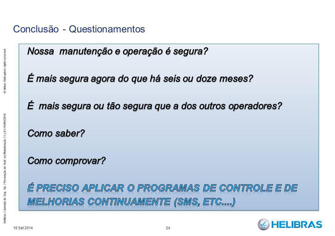 24 Conclusão - Questionamentos 18 Set 2014 Helibras / Jornada de Seg. Op. / Prevenção de Acid. na Manutenção / 1,v.0 / /18/09/2014 © Airbus Helicopter